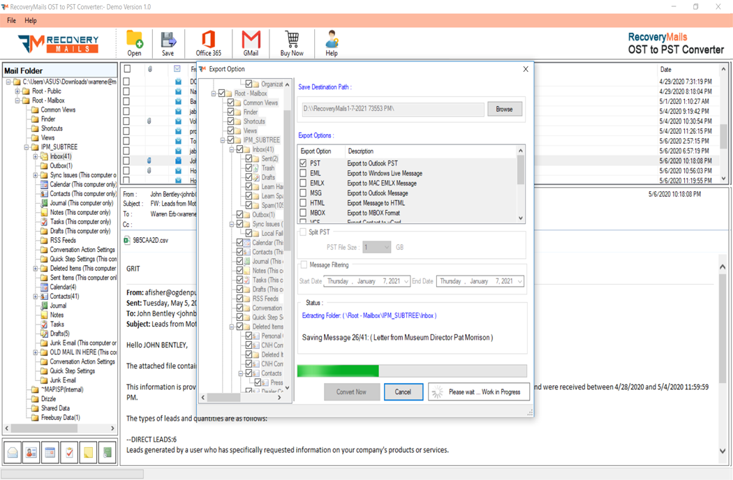 OST to PST Converter Step 5