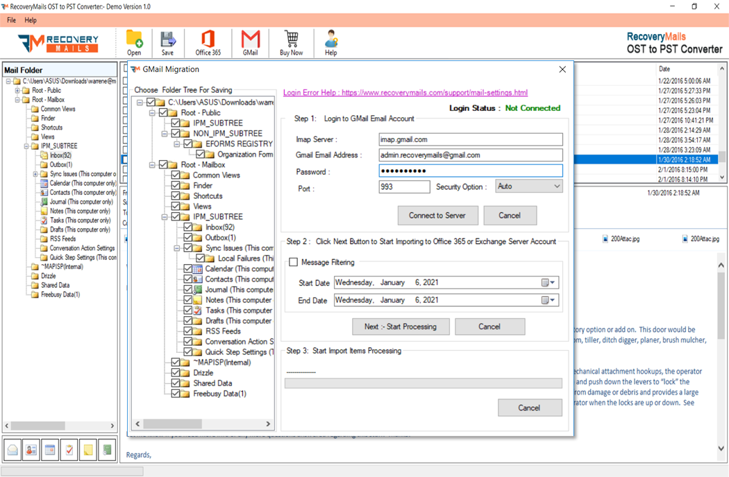 OST to PST Converter Step 7