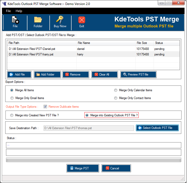 PST Merger Software full screenshot